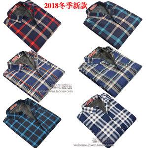 穗阳男士加绒衬衫冬季新品纯棉英伦格子时尚宽松男装加厚保暖衬衣