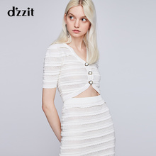 Dzzit plain summer dress new style hollow lace striped short knitted sweater cardigan woman 3G2E5021B
