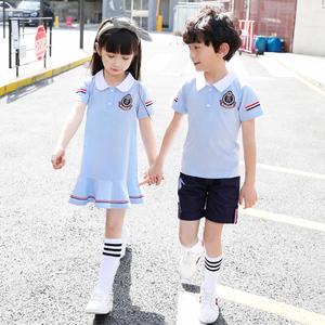 幼儿园园服夏装短袖学院风韩版儿童毕业服夏季班服套装小学生校服