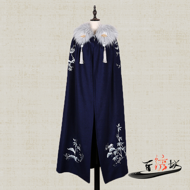 Autumn and winter Vintage Cape wool coat coat wool embroidered improved Hanfu Cape men's and women's coat
