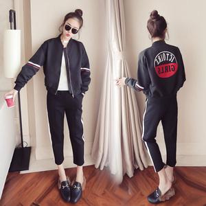 两件套女学院风学生休闲运动服春秋季新款韩版棒球服外套闺蜜套装