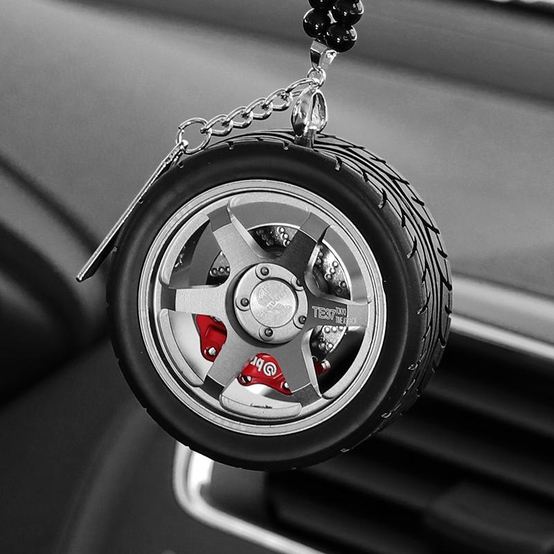 輪轂后視鏡掛飾汽車掛件車內吊飾男車載創意網紅高檔裝飾香水車掛