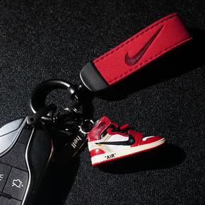 创意aj钥匙扣挂件篮球鞋立体鞋模型翻毛皮汽车钥匙链金属挂扣男女