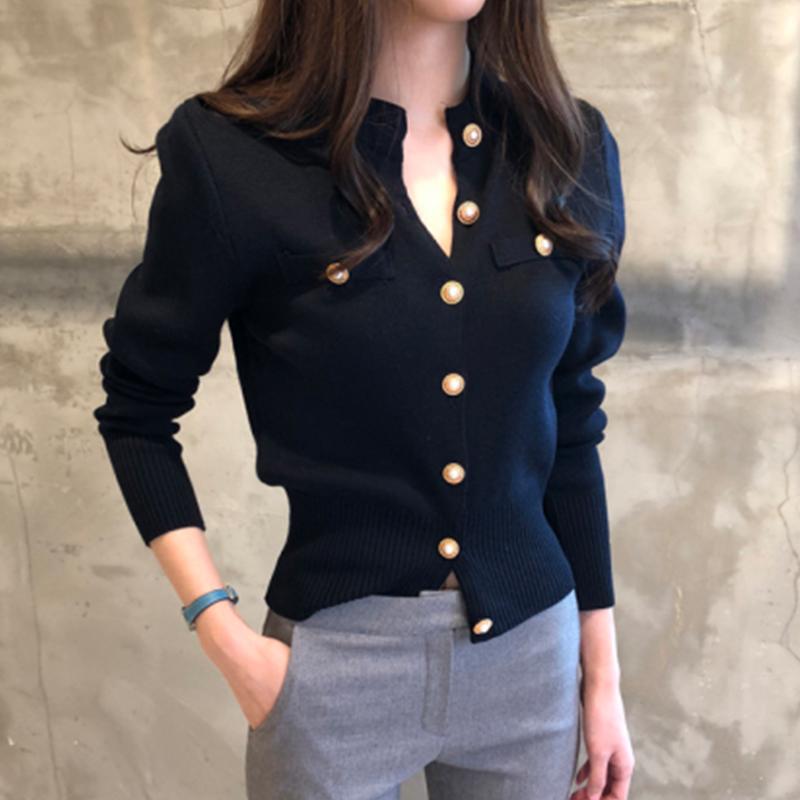 针织开衫短款薄款韩版新款黑色毛衣