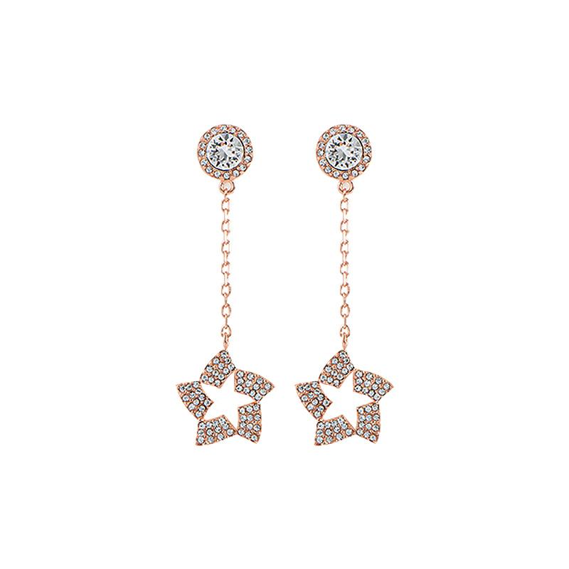 轻奢简约系列 星形耳钉 玫瑰金色 闪闪耳环925银时尚百搭款送女友