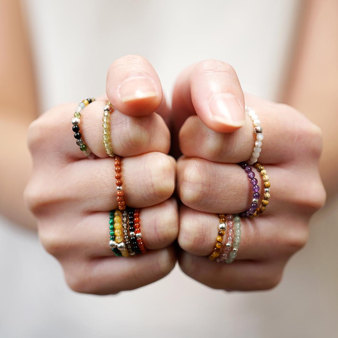 极细能量戒指|VISHI未时s925银七脉疗愈水晶石天然青金玛瑙珠串