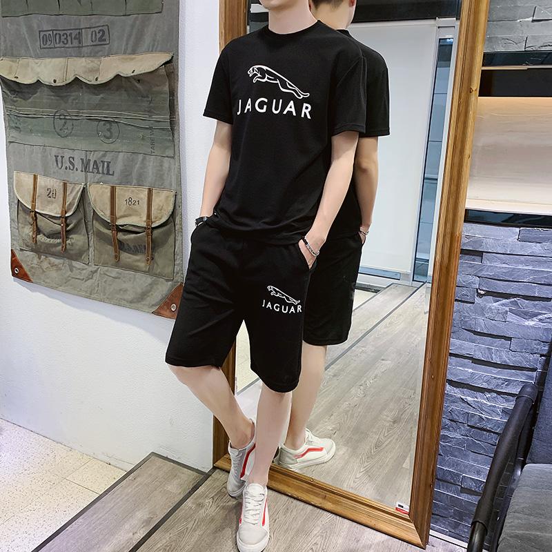夏季半袖男潮韩版潮流t恤港风学生短袖短裤休闲运动套装两件套