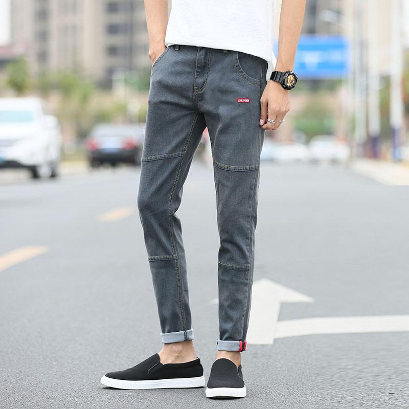 2020夏季牛仔裤男磨毛弹力修身小脚休闲百搭潮帅气牛仔休闲裤