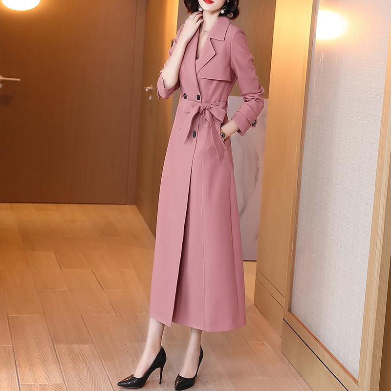 2021新款风衣中长款气质春秋双排扣西装领大衣系带垂感粉色外套女