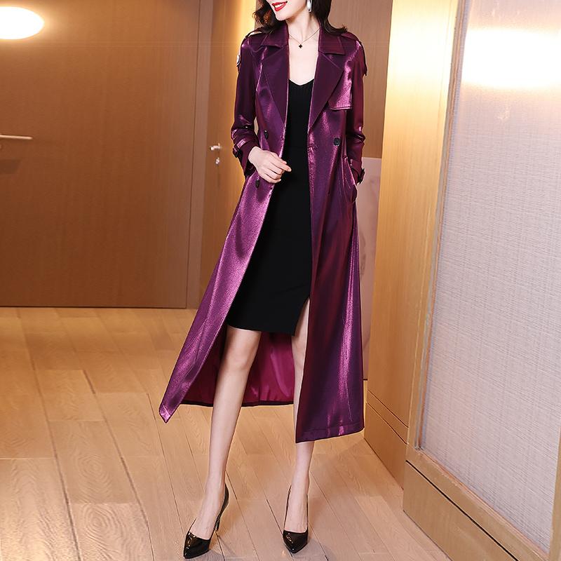 亮面风衣女2021年新款春装英伦风气质休闲显瘦中长款过膝大衣外套