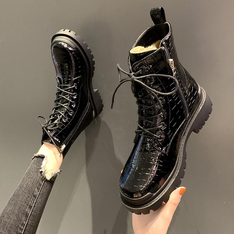 石头纹马丁靴女潮ins酷工装靴方头短靴帅气松糕鞋厚底时装机车靴