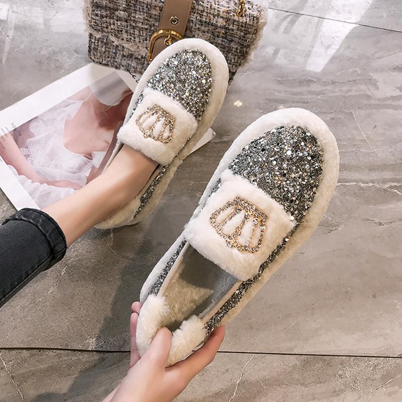 (用48.1元券)棉瓢鞋女秋冬鞋羊羔毛豆豆鞋2019新款百搭韩版平底单鞋加绒毛毛鞋
