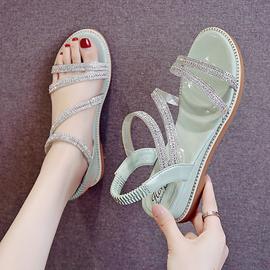 网红仙女风凉鞋女夏2020新款百搭chic鞋子增高坡跟平底水钻罗马鞋