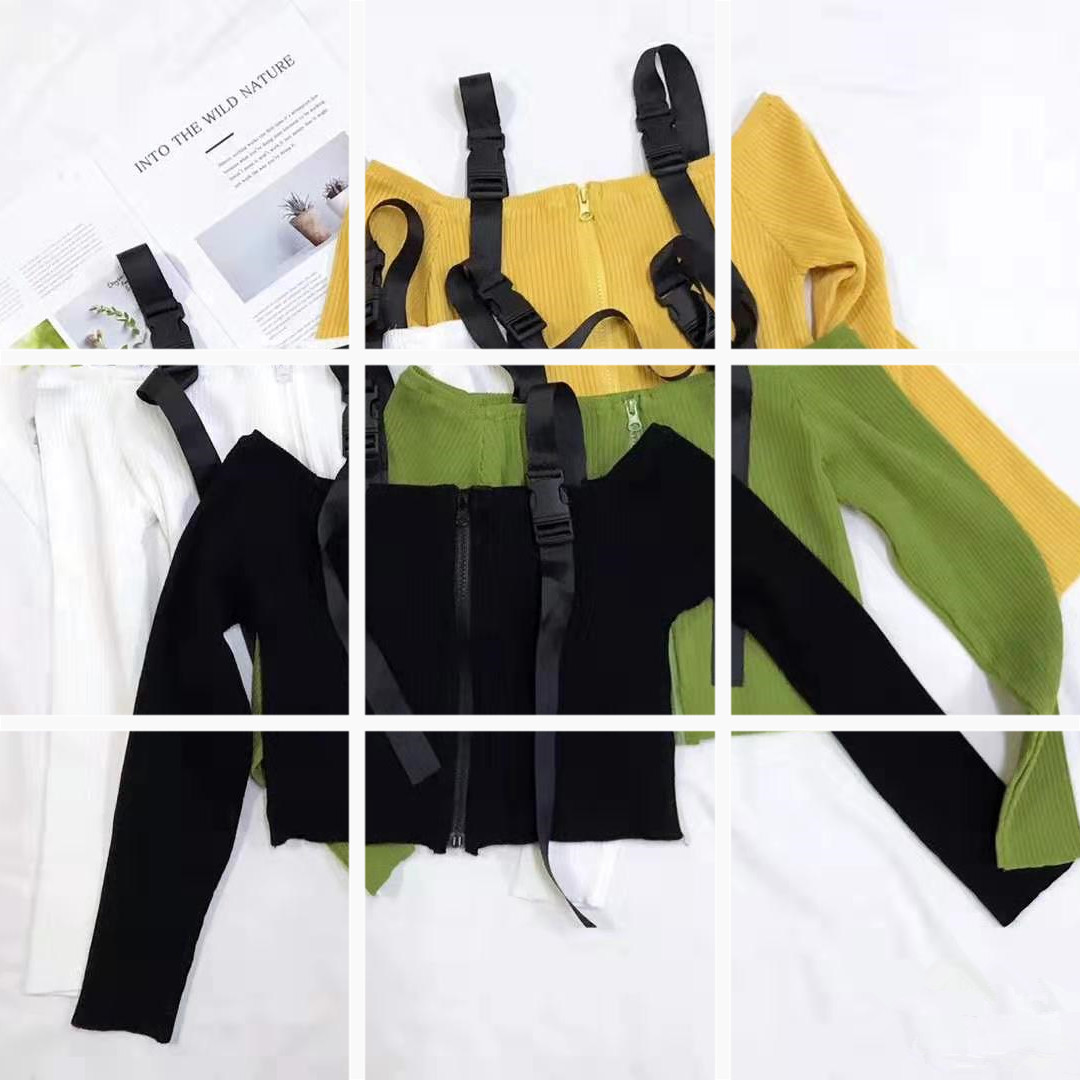 1446#ins超火的高腰收缩吊带宽松长袖针织衫