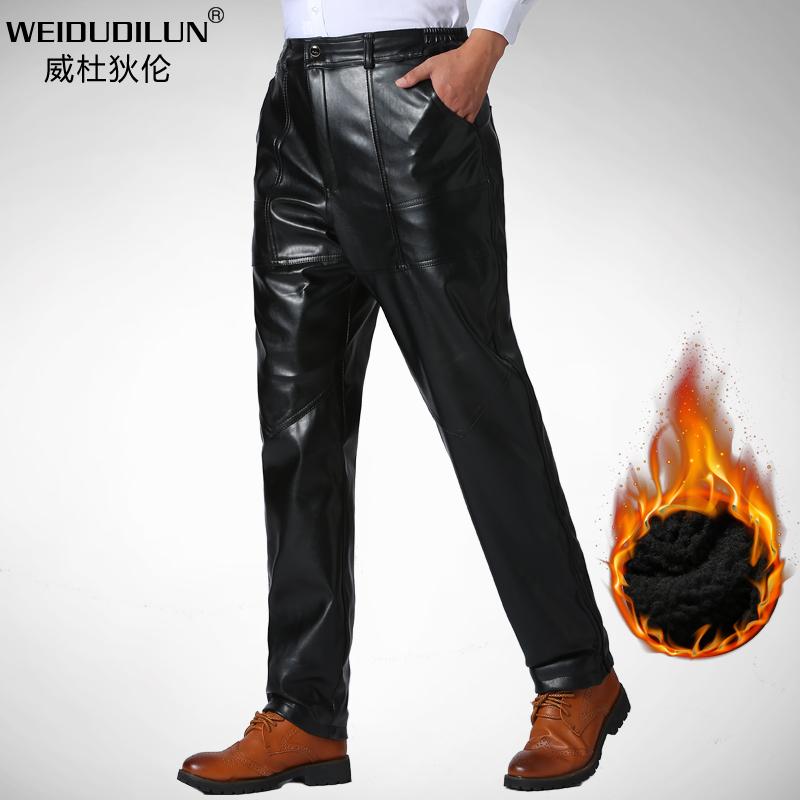 冬季中年加绒加厚皮裤男爸爸装中老年人宽松摩托车休闲保暖防水裤