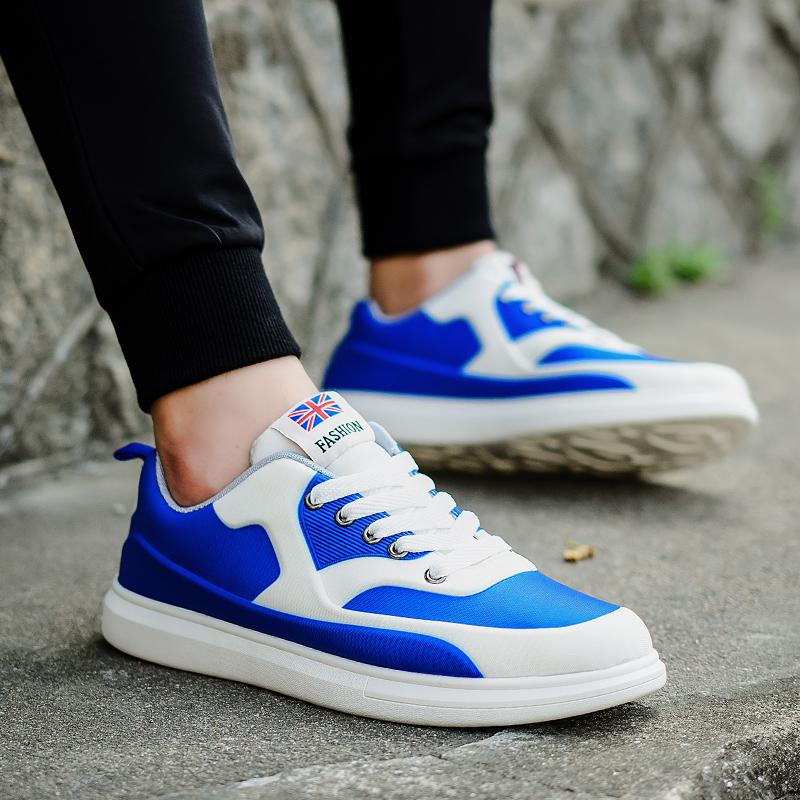 乐睦夏季低帮拼色潮鞋男士休闲运动鞋韩版潮流个性厚底百搭板鞋子