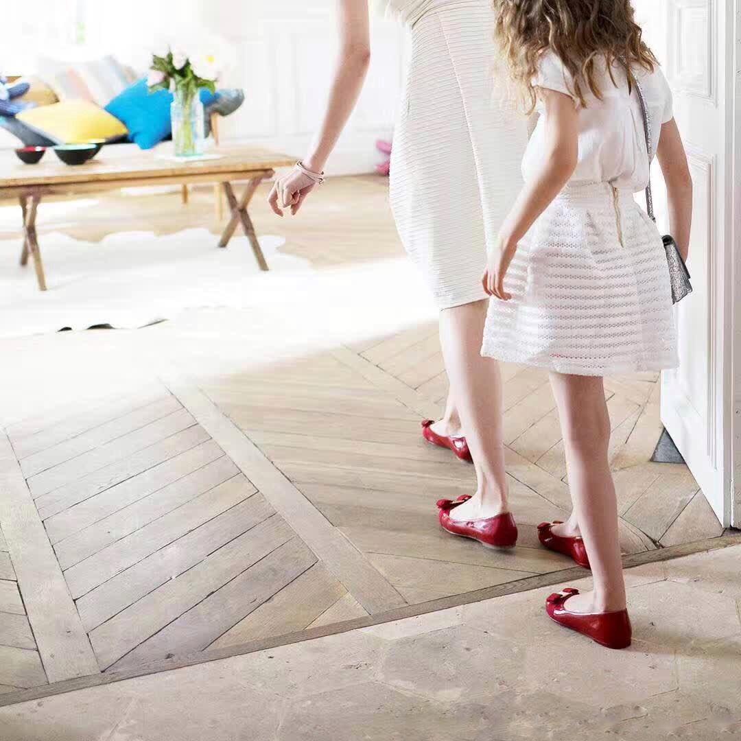 2021升级款 圆头F金属扣蝴蝶结小红鞋平底粗跟女单鞋
