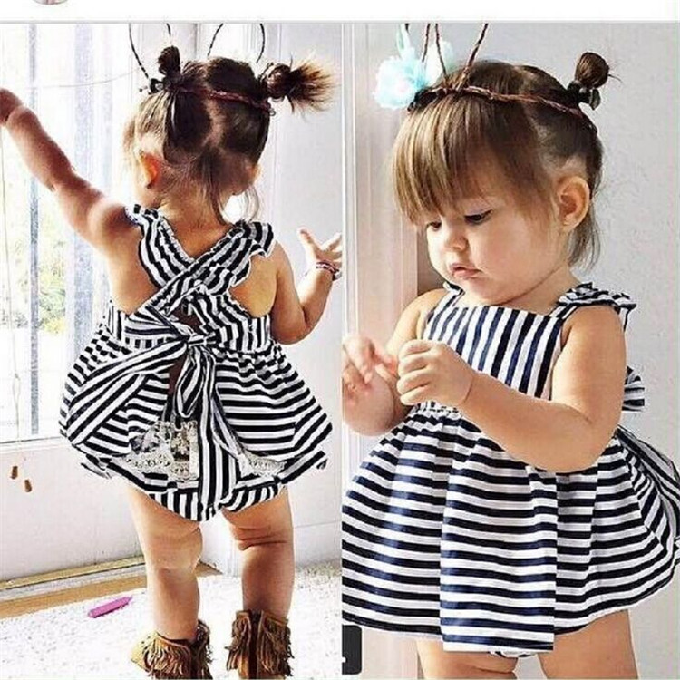 Girls striped back skirt Q6 triangle shorts Leggings two piece suit summer girls baby suspender dress