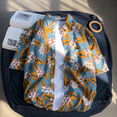 ins超火碎花衬衣复古港风chic短袖宽松沙滩度假夏威夷花衬衫男潮