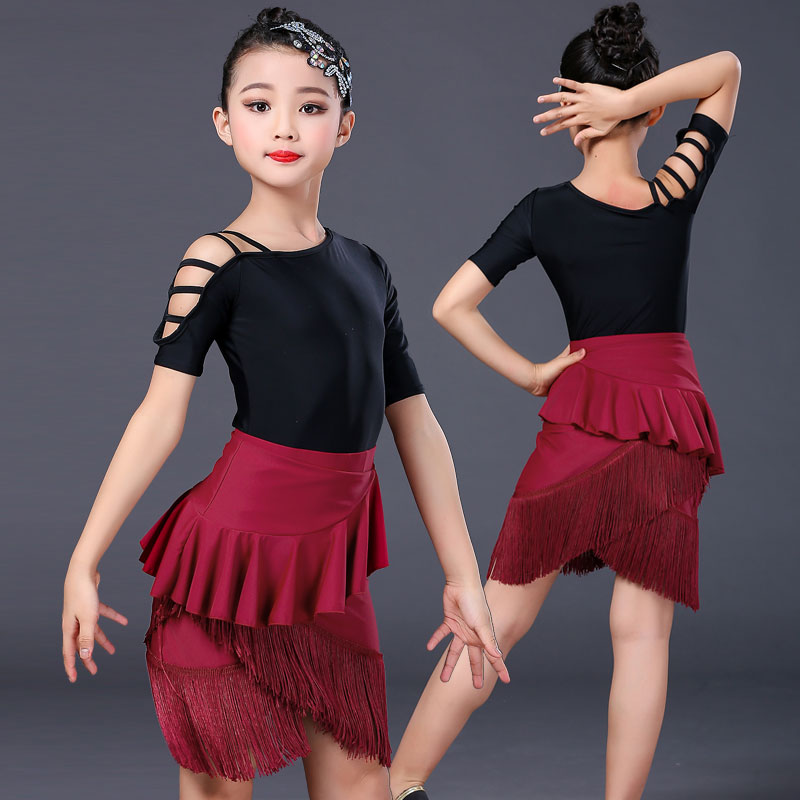Childrens Latin dance clothes girls tassel leaky shoulder Latin dance skirt new suit childrens professional competition practice clothes