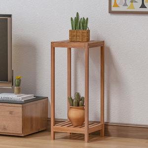 落地实木花架客厅室内办公室多层木质置物架子现代简约绿萝花盆架