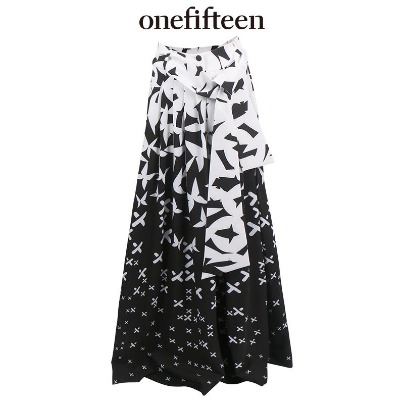 【onefifteen初衣食午】ANDRE十字绣黑白印花直筒宽松阔脚裤长裤