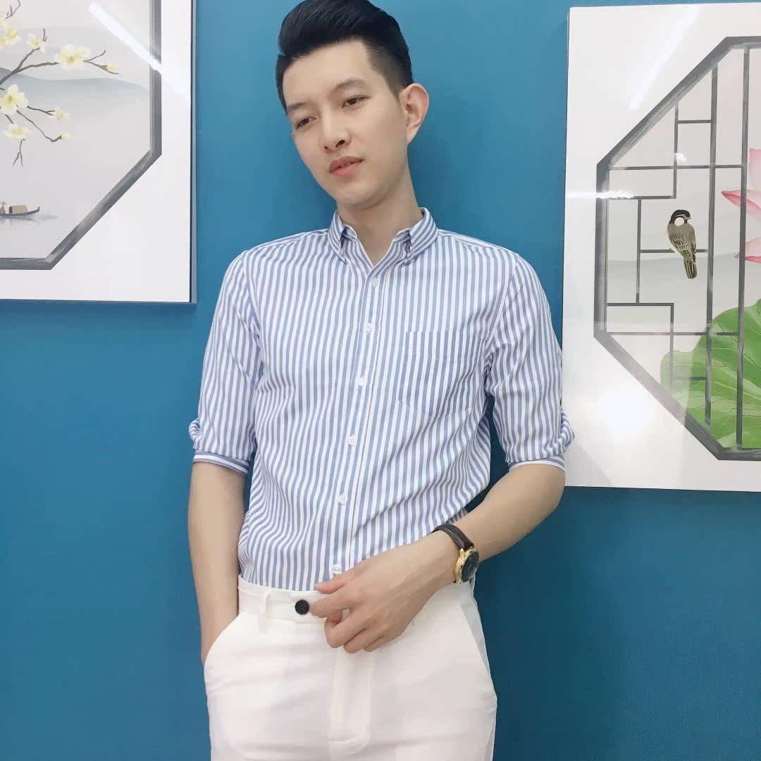 Mens Short Sleeve Shirt summer trend handsome five point sleeve Korean slim vertical stripe embroidered business casual shirt