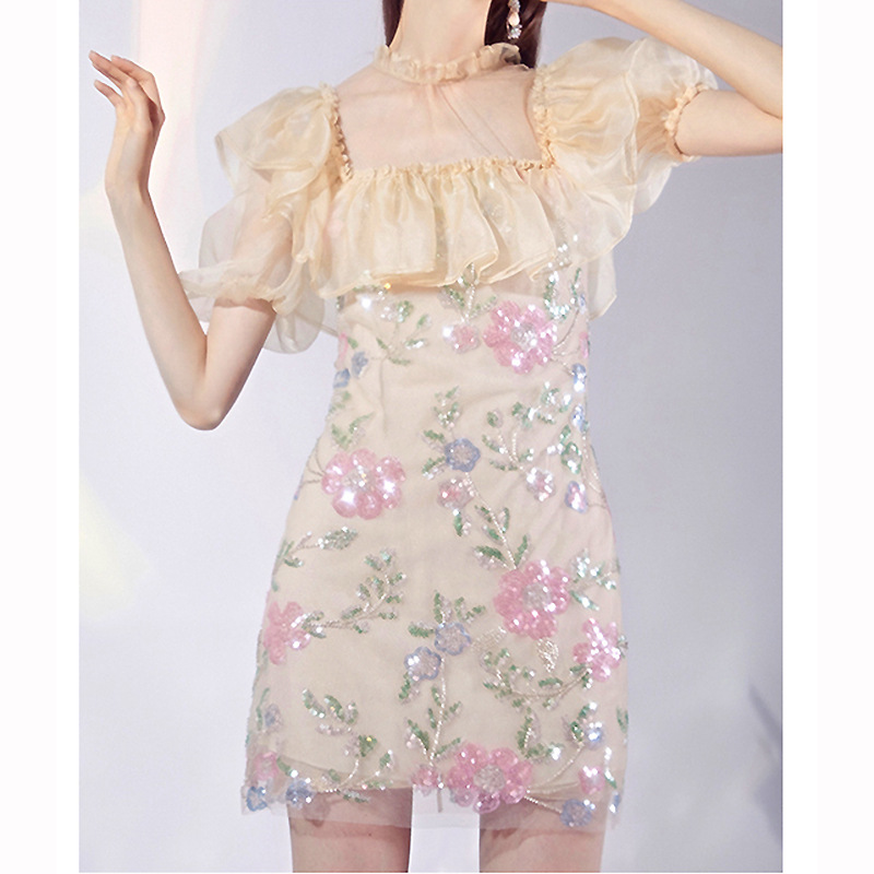 2021 summer womens Pink pistil flower crystal bead decorated square collar lace skirt heavy industry Sequin beaded dress 9484
