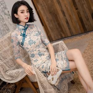 蚀骨旗袍改良版连衣裙年轻款短款小个子修身少女性感复古中国