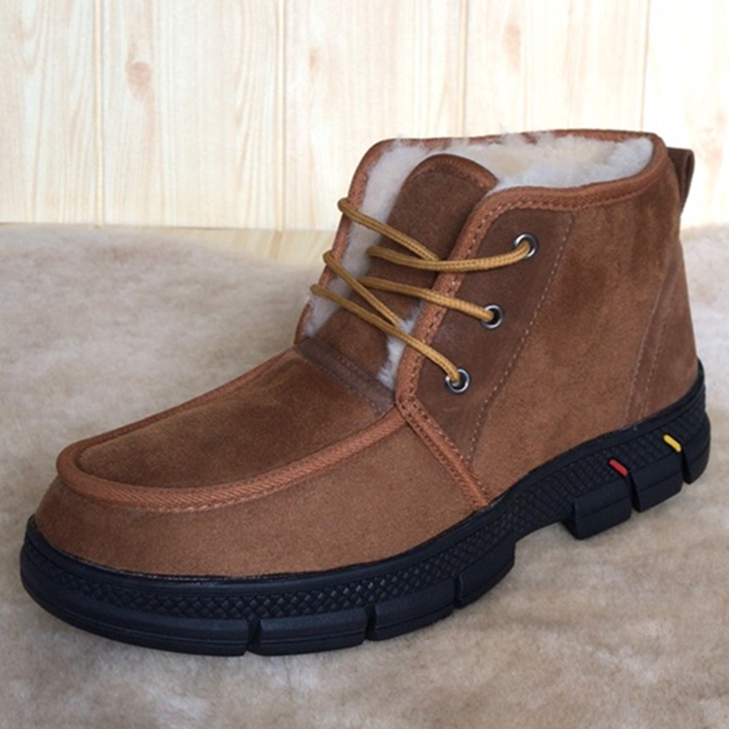 Cotton shoes mens warm winter Plush Snow Boots fur one short boots middle and old age high top non slip dad wool shoes