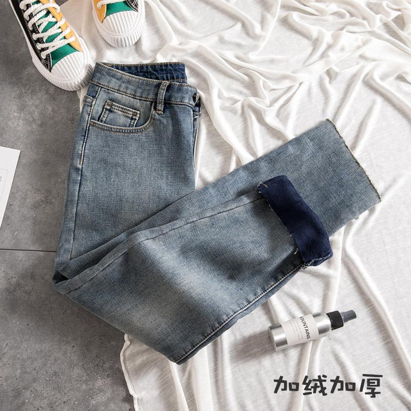 宽松加绒直筒牛仔裤女秋冬季2019年新款高腰显瘦加厚阔腿九分裤图片