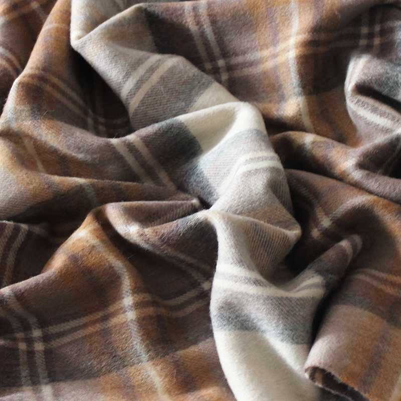 Camel apricot Wool Plaid Scarf for women in winter