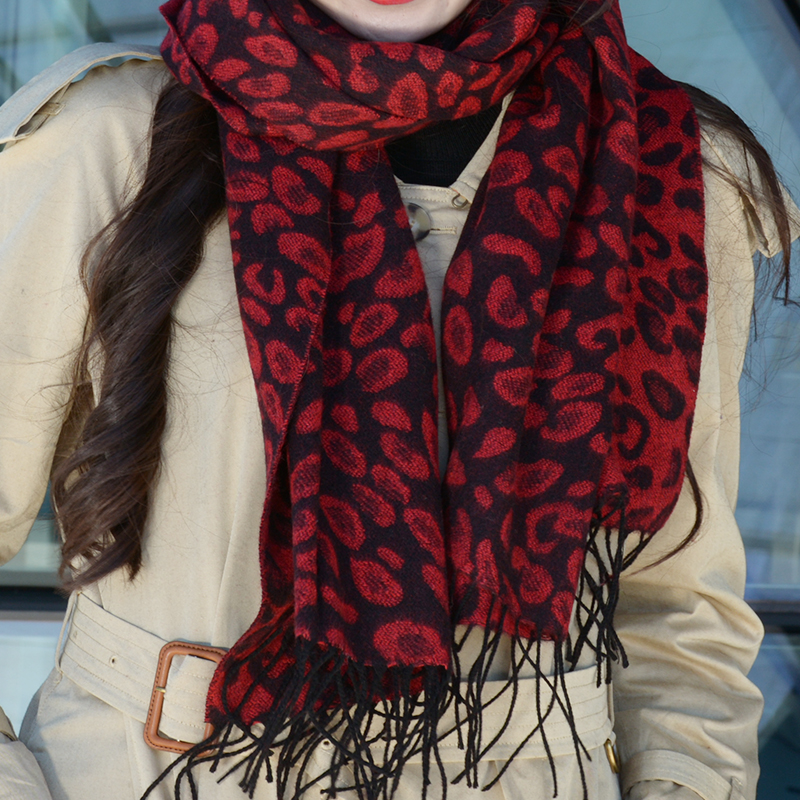 Spring and autumn leopard pattern wool scarf winter thickening young lady summer office air conditioning shawl