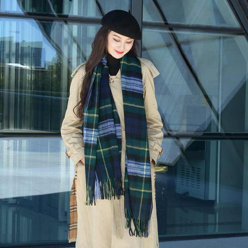 Green Wool Plaid Scarf for women in winter