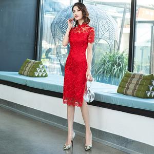 红色蕾丝旗袍日常年轻款少女中国风2020年新款优雅小个子改良版夏