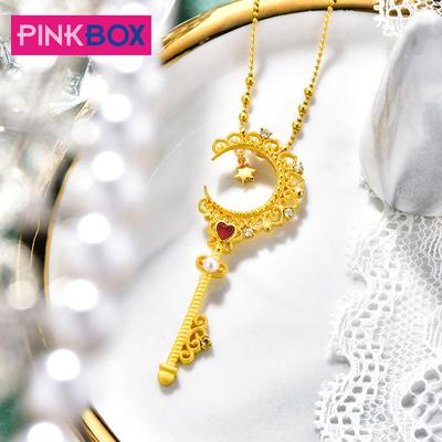 PINKBOX珠宝星月权杖金吊坠女 足金镶嵌彩石黄金珍珠星星钥匙坠子