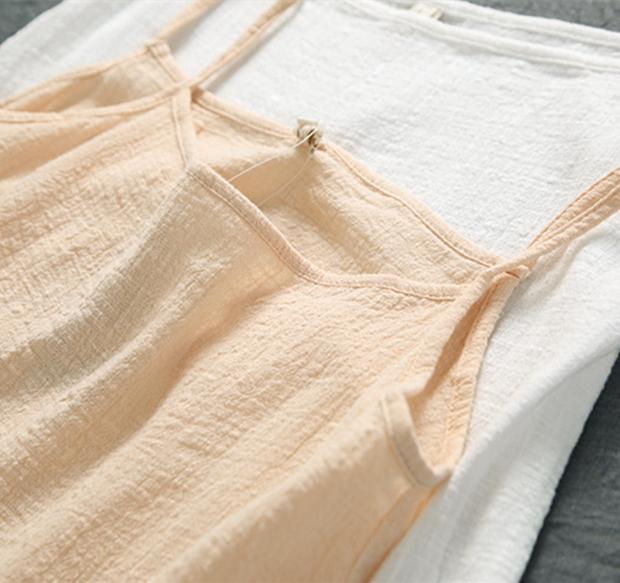文艺显瘦纯色内搭外穿棉麻打底吊带衫小背心女短款无袖亚麻上衣夏