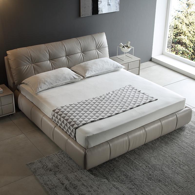 Нордический кожа кровать дерма кровать простой современный небольшой квартира мягкий чехол двуспальная кровать господь ложь брак кровать татами кровать 1.8 метр