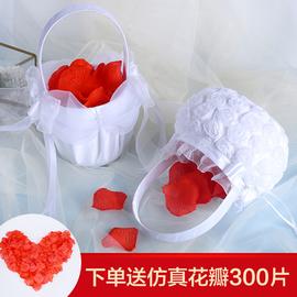 结婚花童花篮婚礼手提小西式高档创意儿童撒花篮花瓣婚庆用品道具