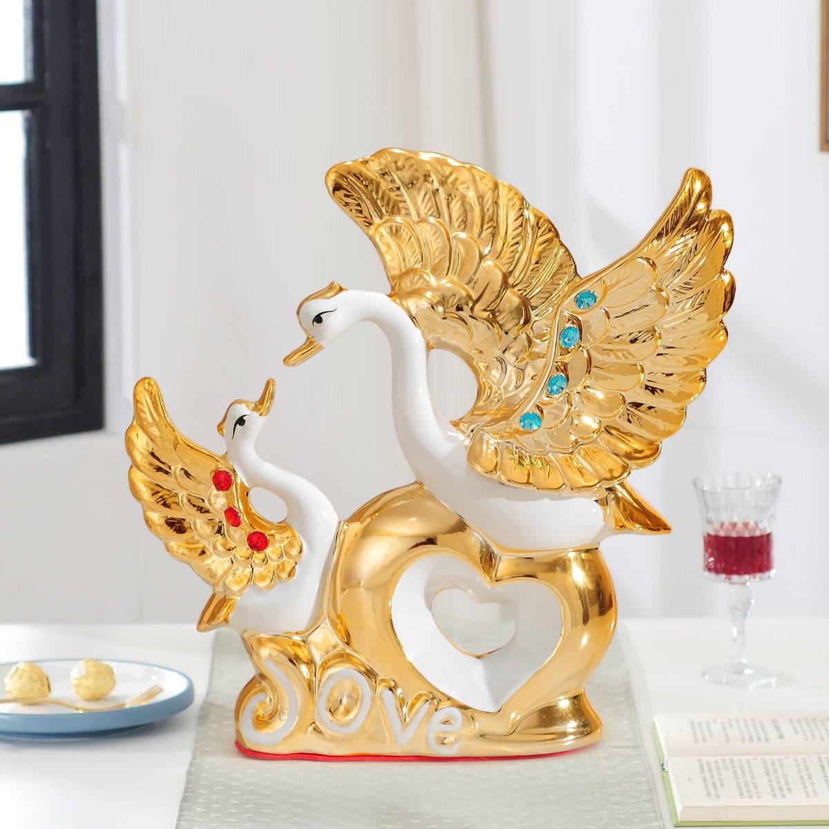 天鹅花瓶陶瓷装饰品家居客厅酒柜电视柜创意装饰结婚礼物新居房间