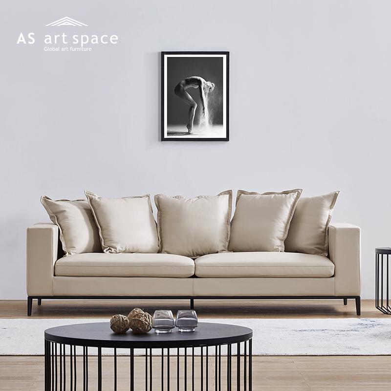 3299.00元包邮AS严选Turing 意式极简约现代风格家具 北欧客厅三人真皮艺沙发