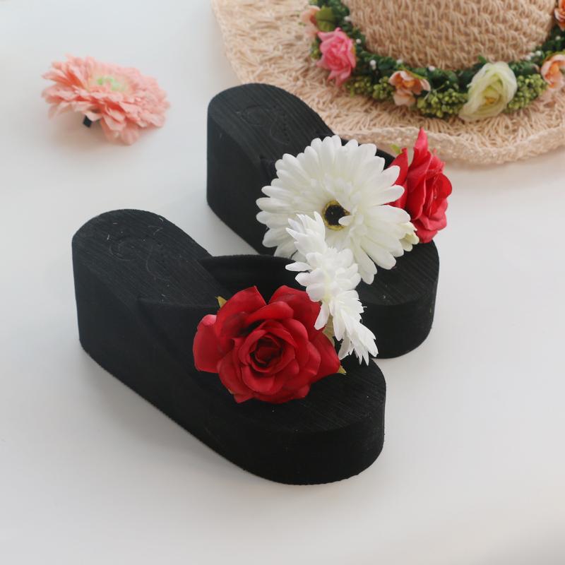 韩版花朵夏季沙滩鞋人字拖坡跟T型拖鞋度假海边松料理凉鞋女