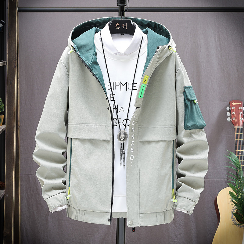 Jacket mens 2020 spring new Korean fashion loose and handsome top youth versatile tooling Hooded Jacket