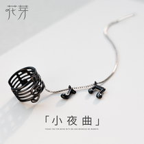 Flower Bud original Personality Creative Serenade ear Line female sterling silver Temperament Korea simple single cold wind ear bone clip