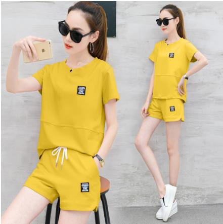 2019新款夏季时尚短袖短裤休闲运动套装女韩版两件套