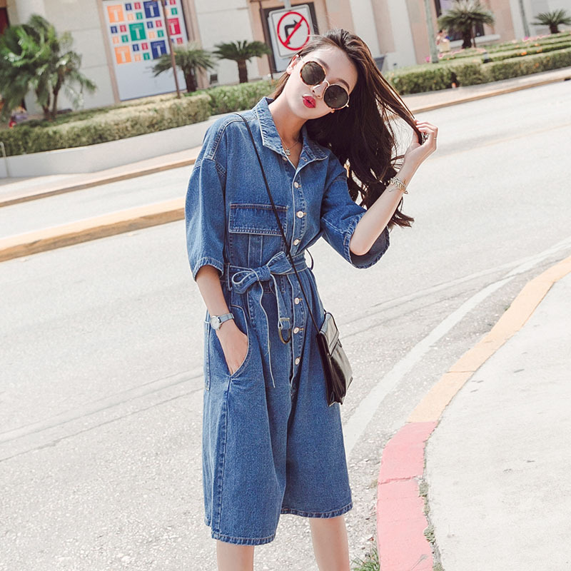Real shot cowboy one-piece shorts womens 2020 summer wear new wide leg panties loose tooling short sleeve one-piece pants