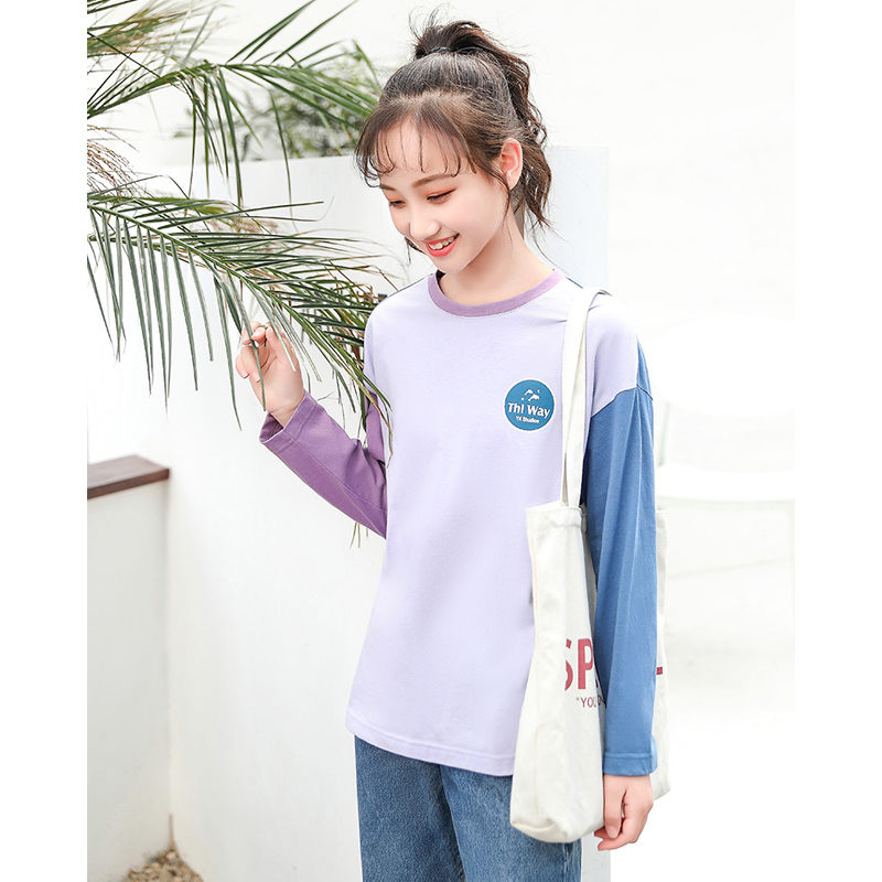Junior high school students spring and autumn long sleeve t-shirt female junior high school girl senior girl 12-15 years old autumn T-shirt for women