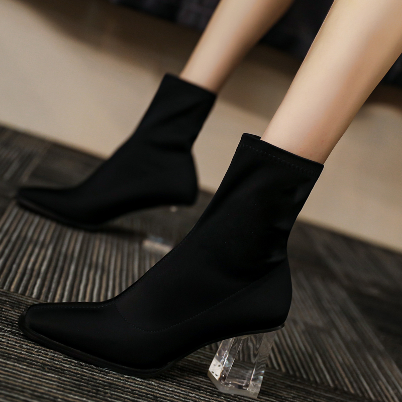 New socks and boots socks shoes winter knitting wool mouth high heel thick heel crystal transparent heel short boots women