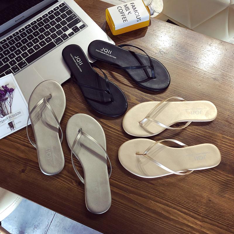 JQII黑色皮简约海边平底跟防滑夹脚人字拖女夏时尚外穿沙滩凉拖鞋