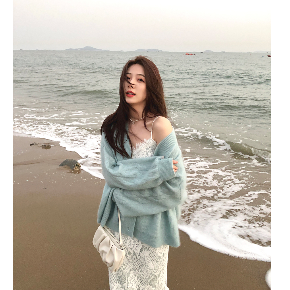 Xia Shiwen Wool Mohair blended loose knitted cardigan female spring gentle top lazy wind sweater coat